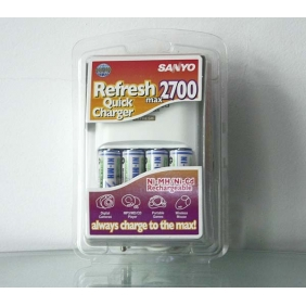 Wholesale Genuine 3 in 1 SANYO Rechargeable 2700mAh Ni-MH/ Ni-Cd Battery Charger Kit (White)